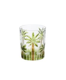 Cj 6 copos baixos cristal de chumbo palm tree handpaint 340ml wolff