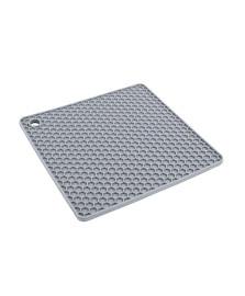 Descanso de panela quadrado de silicone cinza euro