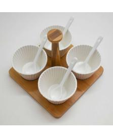 Jogo 4 Molheiras Porcelana com Colheres e Suporte Bambu Bon Gourmet