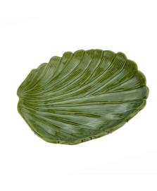 Folha decorativa ceramica banana leaf verde 19x16x3,5 cm lyor