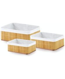 Jogo de 3 cestos organ bambu claro mimo