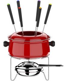 Conjunto para fondue medio 10 peças vermelho euro