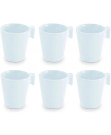 Jogo de 6 mini caneca ceramica white 80 ml mimo