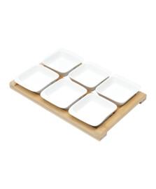 Jogo  6 petisqueiras porcelana com tabua bambu 31x20x5cm bon gourmet
