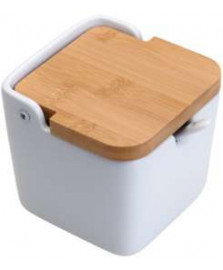 Saleiro de mesa de ceramica c/tampa de madeira e colher bianco 10x10cm lyor