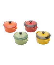 Jogo 04 mini panelas redondas porcel. bongourmet