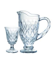 Jogo p/refresco angelica 7 pcs em cristal ecol(1l+6x240ml)transparente