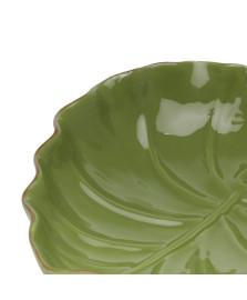 Folha Decorativa Cerâmica Grande Verde LYOR