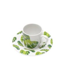 Conjunto 06 xicaras de porcelana para café com pires folhas 90 ml bon gourmet