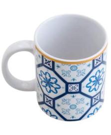 Caneca de porcelana braga azul e branca 330 ml