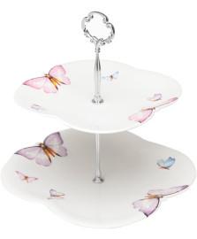 Prato duplo porcelana p/doces borboletas 20/24x25cm wolff