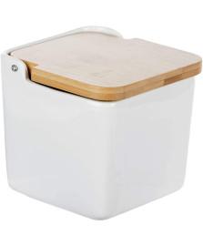 Saleiro de mesa de ceramica c/tampa de madeira bianco 12x12cm lyor