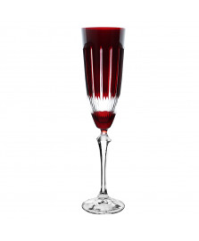 Taça p/champanhe elizabeth lapidada em cristal vermelha bohemia