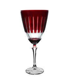 Taca p/agua elizabeth lapidada em cristal 350ml vermelha bohemia