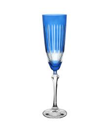 Taça para chamanhe elizabeth lapidada em cristal 200ml azul bohemia