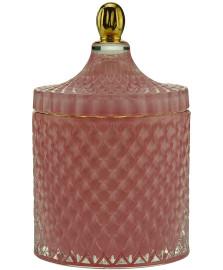 Bomboniere decorativa  vidro  rosa 11x17cm royal decor