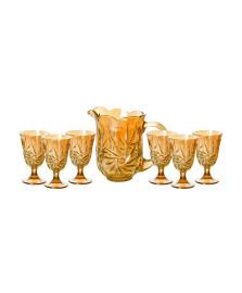 Cj 7 pc jarra c/6 tacas de cristal p/agua prima ambar 1,5l/240ml lyor