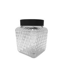 Pote vidro borossilicato com tampa preta colmeia 13x16cm bon gourmet