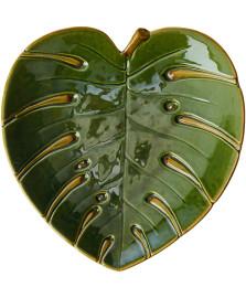 Folha Decorativa Cerâmica Costela de Adão Leaf Verde 28 x 26 cm LYOR