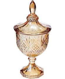 Potiche decorativo c/pe de cristal  dublin ambar 11,5x24,5cm lyor