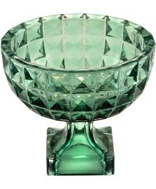 Centro de mesa com pe diamant verde 32 x 19cm wolff