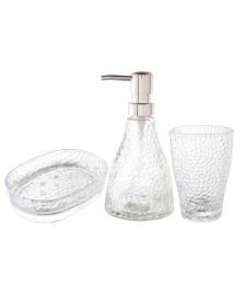 Jogo 3pc p/banheiro de vidro  elegant prateado lyor