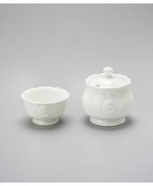 Açucareiro e porta adoçante porcelana queen lyor
