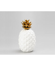Abacaxi decorativo ceramica 28 cm dourado lyor