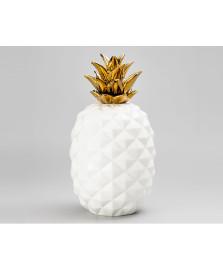 Abacaxi decorativo ceramica 36.8 cm dourado lyor