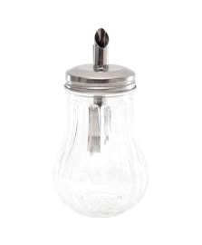 Açucareiro de vidro c/ tampa de aço cromado lyor