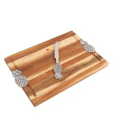 Bandeja de madeira com faca abacaxi 23 x 34 cm bon gourmet