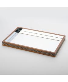 Bandeja espelhada com strass 55 cm perfil wood art