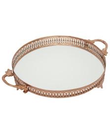Bandeja redonda espelhada 43 cm ouro rose vylux