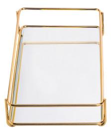 Bandeja espelhada 15 x 25 cm fence dourada hara
