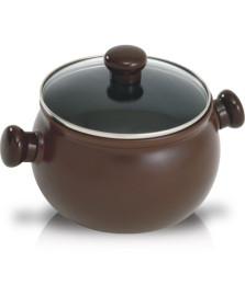 Caçarola de ceramica redonda marrom 20cm ceraflame