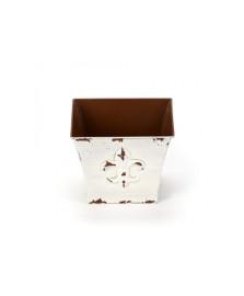 Cachepot flor de liz quadrado branco bencafil