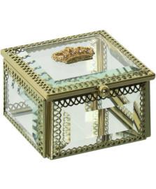 Caixa de vidro e metal dourado 8 x 5 cm home loft