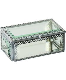 Caixa de vidro e metal prata 12 x 7 cm home loft