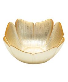 Centro de mesa em vidro folhagem 22,5 cm ouro l`hermitage