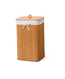 Cesto bambu 60 cm natural tecido branco bencafil