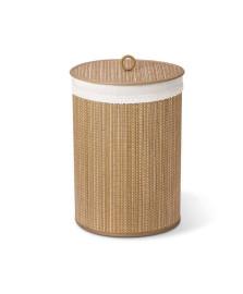 Cesto de roupa redondo bambu e tecido bencafil
