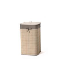 Cesto em bambu e tecido cinza  35 x 60 cm bencafil