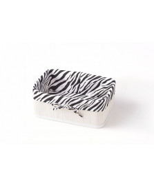 Cesto retangular branco e zebra 30 cm bencafil