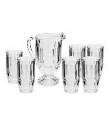 Conjunto 07 peças jarra com 06 copos de cristal charlotte lyor