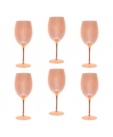 Conjunto 6 taças para água de vidro rosé gold 380 ml lyor