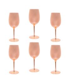 Conjunto 6 taças para vinho de vidro rosé gold 350 ml lyor