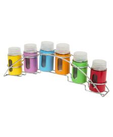 Conjunto 7 peças porta temperos de aço inox e vidro colorido com suporte bon gourmet