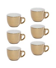 Conjunto de 6 xícaras para café com pires dourado 90ml wolff
