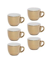 Conjunto 6 xícaras para chá de porcelana com pires dourado 220ml wolff