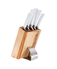 Conjunto de facas com cepo white snake 6 peças james.f